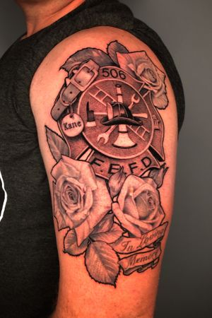 Firefighter memorial tattoo #3rlonly #roses