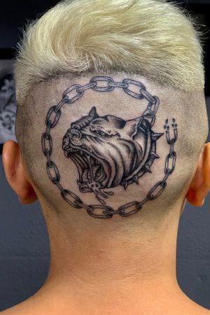 Fine-line head banger!! Rabid pit bull #chicano #blackandgrey #bngsociety