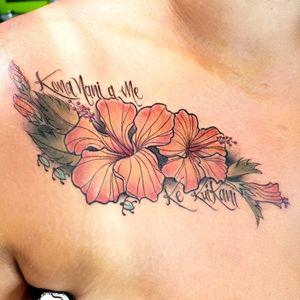 #hibiscustattoo #pacificisland #hibiscus #flowers #chesttattoo #delicatetattoo #finelinetattoo #handdrawntattoo #hawaii #tropicalflowers #seaturtletattoo #seaturtle #hawaiian #tropicalflowertattoo #maui #kihei #color