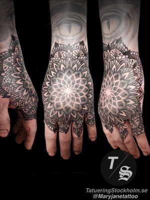 Hand mandala sacred geometry dotwork tattoo #mandala #sacredgeometry #dotwork #dotworktattoo #maryjane #maryjanetattoo #tatueringstockholm #geometric #geometry