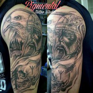 Viking / Eagle / Skull Half-Sleeve Tattoo (Unfinished) #Viking #VikingTattoo #Norse #NorseTattoo #Eagle #EagleTattoo #Skull #SkullTattoo #SleeveInProgress