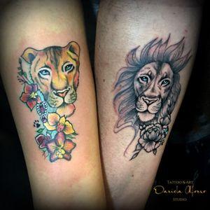 Tatuaje de pareja. #liontattoo