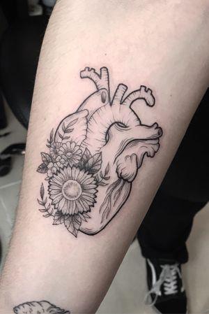 Heart linework flowers
