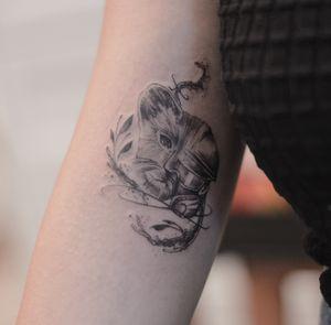 Tear gas mask vs baby lion fineline tattoo