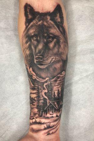 Realistic wolf from today #blackandgrey #blackandgreytattoo #realism #realismtattoo