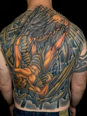 Icarus back piece tattoo by Terry Ribera at Remington Tattoo in San Diego www.remingtontattoo.com