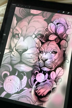 Neo traditional lion design
