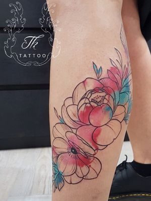Watercolor flowers tattoo #thtattoo #flowers #flowerstattoo #siegentattoo #colognetattoo #kreuztaltattoo #olpetattoo #watercolortattoo #kwadron