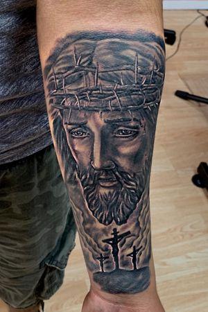White Jesus portrait. #blackandgrey #blackandgreytattoo #jesus #jesustattoo #religioustattoo #crosstattoo #portrait #portraittattoo #dope #portraittattoos #realistic #realistictattoo #realism