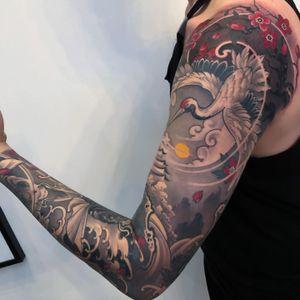 Crane sleeve. #tattoodo #inkjecta #wearesorrymom #killerinktattoo