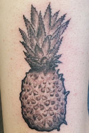 Pineapple tattoo with pot leaves