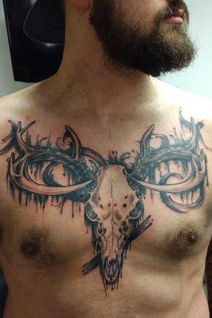 #skull #deer #horns #antlers #brushstroke #chesttattoo