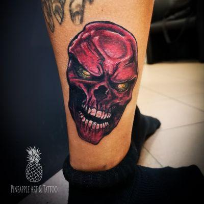 Red skull 💀 #tattoo #tattoolife #tattoostyle #colortattoo #redskull #skulltattoo #comictattoo #redskulltattoo #tattoos #tattoosofinstagram #instatattoo #tattooing #pineapple #pineappleartandtattoo #maribor #tattooedBoys #inked #intenzeink #intenze #tattooart #tattooartist