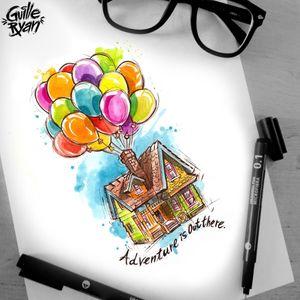 Design Taken @guilleryan.arttattoo guilleryanarttattoo@gmail.com #up #pixar #disneyinspired #disney #disneytatts #disneyprincesstattoo #inkeddisney #disneytattoo #watercolortattoo #watercolortattoos