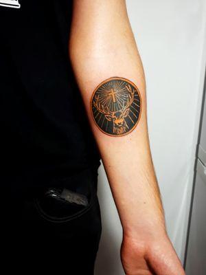 Cheers to Costică! 🧡🖤🧡🖤 #jagermeister #jagermeistertattoo #drinktattoo #logotattoo #practice #learning #learningtotattoo #everythingpossible #tattoos #tattoolifestyle #tattoonewbie #ink #inked #inkedgirls #daretochange #daretobedifferent #workingheroes #beginnertattooartist #tattooedgirls #tattooworkers #inkstagram #tattoosession #tattoodo #myinkprints2019