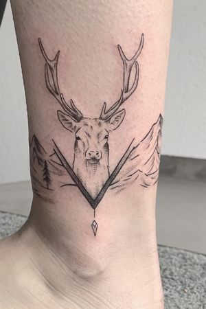 Deer tattoo with some mountains. #mountains #deer #animals