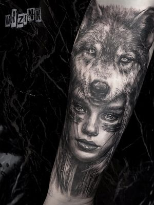 Wolf & indian girl
