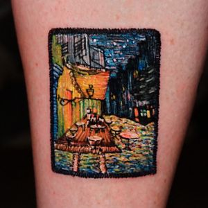 """Van Gogh - """"night cafe carpet"""" in embroidery style"""