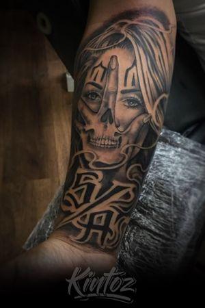 Clown Face Skul hand tattoo s/a south atlanta tattoos by kintoz
