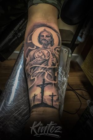 San judas tattoo with crosses
