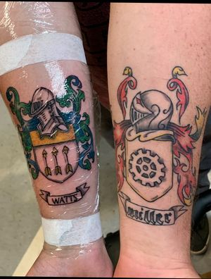 Pair of family crests