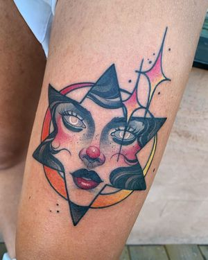 Surreal Neo-Traditional tattoo by Debora Cherrys #DeboraCherrys #neotraditional #surreal #color #ladyhead #lady #portrait #star #moon #sparkle