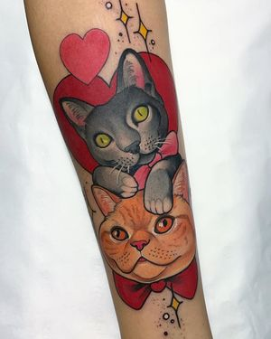 Surreal Neo-Traditional tattoo by Debora Cherrys #DeboraCherrys #neotraditional #surreal #color #cats #kitty #heart #petportrait