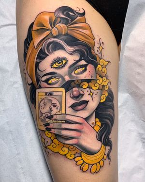 Surreal Neo-Traditional tattoo by Debora Cherrys #DeboraCherrys #neotraditional #surreal #color #ladyhead #lady #portrait #gypsy #thirdeye #tarot #clouds #magic #sparkle