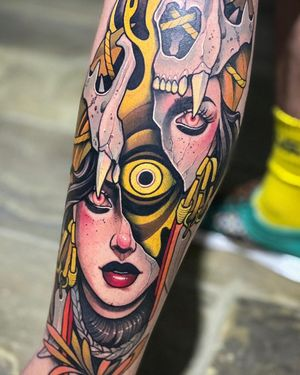 Surreal Neo-Traditional tattoo by Debora Cherrys #DeboraCherrys #neotraditional #surreal #color #ladyhead #lady #portrait