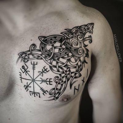 Celtic Wolf & Vegvisir #celtic #norse #viking #wolfknot #celticwolfknot #fenrir #norsemythology #vegvisir #marloeslupker #inkandintuition #Amsterdam
