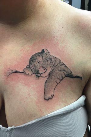 Baby tiger dot work tattoo I did.