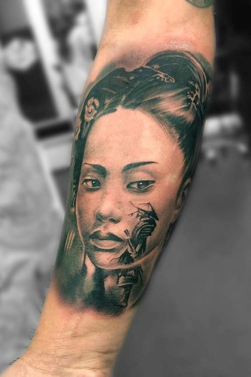 Geisha and Samurai, inner forearm