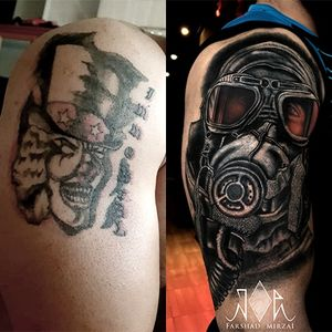 hard Cover Up!      #covertattoo #cover #gasmask #tattoo #تتو