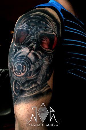 Cover up! کاور #Gasmask #gasmasktattoo #Darktattoo #tattoo #تتو instagram: @joeart_tattoo