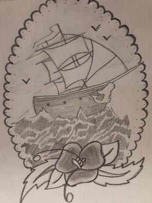 #boattattoo #boat #oldschooltattoos #pencildrawing #whiteandgrey