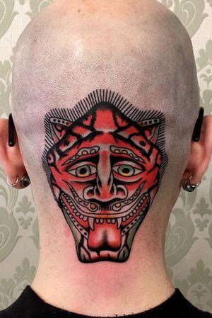 Demon, head tattoo, demon tattoo, traditional tattoo, old school tattoo, Zurich, Lugano. CH.