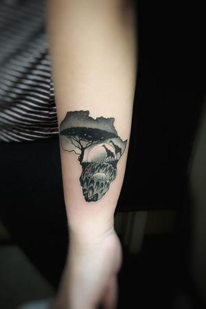 Africa ❤️ #Tattoothetown #larktattoo #blackink125th #tattooedboys #skull #ink #inkhead #custom #art #artist #fun #tattooworld #brooklyn #Manhattan #longisland #newyork #skulltattoo #tattooartist #besttattoo #design #besttattooartist #tattooart #inkedup #artist #inked #tattoolife #besttattoos #artwork