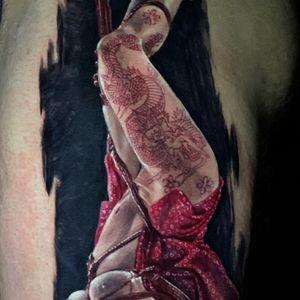 #shibari #shibaritattoo #bondage #bondagetattoo #thightattoo #tattooinatattoo