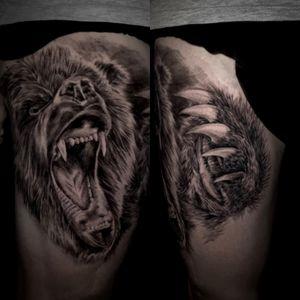 #bear #beartattoo #legtattoo #legsleeve #nativeamerican #grizzlybear #animaltattoo #blackandgrey