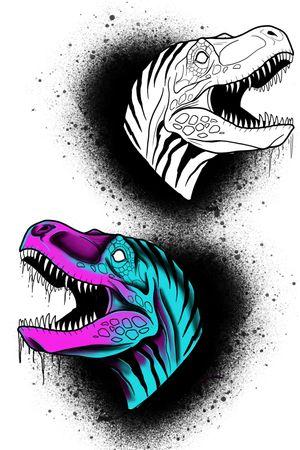 T. rex. Line work or full colour.