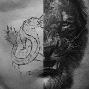#coverup#coveruptattoo#lion#blackandgrey