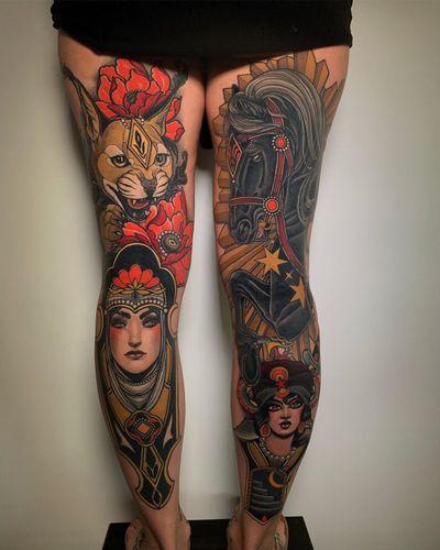 Neo-Traditional tattoo by Solemn Tattoo of Loveless Tattoo in Montreal #SolemnTattoo #LovelessTattoo #neotraditional #neotraditionaltattoo #color #artnouveau #artdeco #montreal #canada #cat #portrait #ladyhead #pearls #horse #stars #gypsy #moon #flowers #poppy