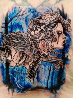 #duality #goodandevil #gemini #watercolortattooartist