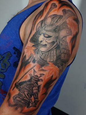 Proyecto de media manga: Guerrero Samurai. #samuraitattoo #samuraiwarrior #armtattoo #blackandgreytattoo #japan #warrior #tattoed #ink #artwork #eclectictattoogallery #AndresTorresArt