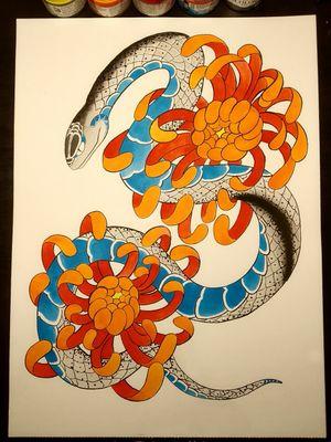 Snake and chrysanthemums #japanese #irezumitattoo #irezumi #irezumiinspired #hebi #snake