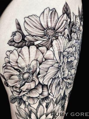 Tattoo by Ruby Gore   Philadelphia, PA http://www.therubygore.com #vegantattoo #onlyblackart #btattooing #blacktattooart #ladytattooers #darkartists #blackworkers #blackwork #blackink #vegan #illustrativetattoo #flowertattoo #floraltattoo #planttattoo #botanicaltattoo #naturetattoo #dotworktattoo #phillytattoo #phillyink #bestofphilly #fishtown #newjerseytattoo #newyorktattoo #pittsburghtattoo #baltimoretattoo