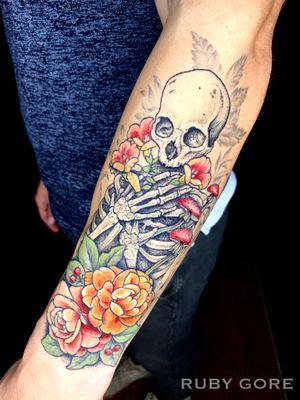 Tattoo by Ruby Gore   Philadelphia, PA http://www.therubygore.com #vegantattoo #onlyblackart #btattooing #blacktattooart #ladytattooers #darkartists #blackworkers #blackwork #blackink #vegan #illustrativetattoo #flowertattoo #floraltattoo #planttattoo #b