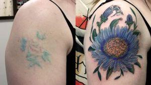Cover up tattoo. #coverup #hulltattoostudio #Hull #flowertattoos