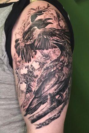 Photorealistic ravens for Thomas! Thanks for trusting me! . . . . . . . #fresh #blackandgrey #photorealism #raventattoo #artwork #tattoo #tatts #realistictattoos #raven #tattooartistmagazine #eternalink #inkjectanano #sullen #skinartmag #berlintattooartists #berlin #crow #art #guiartwork #ink #inkstagram #realism #blackandgrey #arm #crowtattoo #tatts #realistictattoos #tattooworkers #tattoooftheday #photorealistictattoo