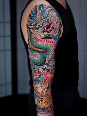Dragon fish sleeve.